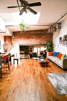 Split level rustic boho apartment. Stunning timber flooring and gorgeous exposed brick. I can imagine us in here :-)
