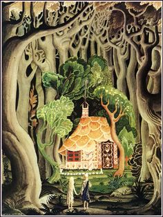 Danish-American illustrator Kay Nielsen - gorgeous illustration for Hansel and Gretel, the Brothers Grimm Kay Nielsen, Art And Illustration, Book Illustrations, Botanical Illustration, Fantasy Kunst, Fantasy Art, Brothers Grimm Fairy Tales, Grimm Tales, Hansel Y Gretel