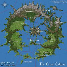 The first draft of the Great Caldera map. I produced this version from work-in-progress assets for the Kickstarter campaign. The final poster map will be a more polished version, with revised terrain, colouring, captions, and so on. Fantasy Map Maker, Fantasy City Map, Fantasy World Map, Fantasy Places, Final Fantasy Map, Fantasy Art, Dungeons And Dragons, Dnd World Map, Imaginary Maps