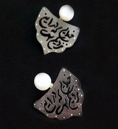 Persian calligraphy handcrafted oxidized silver and pearl earrings