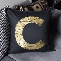 Personalised Metallic Alphabet Initial Letter Cushions