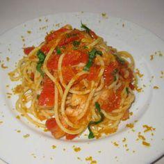 Spaghetti con gamberi e bottarga