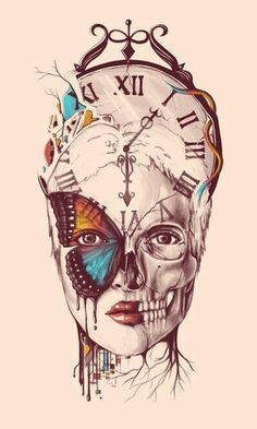 Hipster girl head #hipster #girl #watch #skull
