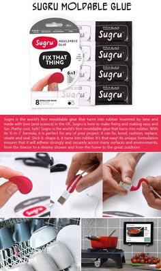With Sugru Moldable Glue, you can stick it, shape it -- it turns into rubber. It's that easy! Its unique formulation ensures that it will adhere strongly and securely across many surfaces and environments, from the freezer to a steamy shower and from the home to the great outdoors. $22 for a pack of 8.