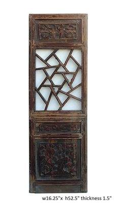 This is an old Chinese wood panel with lettuce pattern at the center. Relief carving of oriental people and flowers is at the top and bottom. It is rustic with worn off marks and wood crack. Loose par