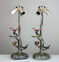 -Art Nouveau .800 Silver Butterfly Lamp : Butterfly Lamp, Antique Lamps, Light Up, Art Nouveau, Candle Holders, Vintage Items, Candles, Antiques, Silver
