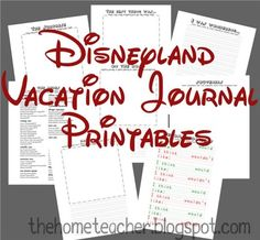 Free printable pages for a special Disneyland Vacation Journal. This journal has space for a daily run down of events, weather report, ride recommendations, a happy face/frown face evaluation of each ride, and SO MUCH MORE.