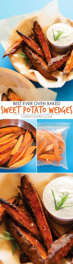 This healthy Oven-Baked Sweet Potato Wedges recipe makes crispy on the outside, tender on the inside, dipped in an herby garlic yogurt sauce fries that you're going to love! Packed with nutrients and low in fat, these are the perfect flavorful vegetarian side dish to your meal or snack for the fall. // Live Eat Learn