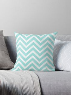 Blue Zigzag pattern. aqua, baby blue, blue, white, pastel, chevron, colorful, stripes, striped, pattern, zigzag, fun, funky, trendy, chic, classic, contemporary, modern, pretty, whimsical, playful, cute, accent, colors, color, bright, bold, home, decor, girly, artsy, • Millions of unique designs by independent artists. Find your thing.