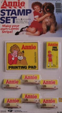 """Little Orphan ANNIE STAMP SET w 6 STAMPERS & MORE! Make YOUR Own COMIC STRIP! (1981 Tribune/Columbia Pics) by Tribune Company Syndicate, Columbia Pictures. $69.99. Includes: 6 Orphan Annie Stamps (Stampers) each Stamp approx. 1-1/2"""" long x 7/8"""" wide x 1"""" high, an Ink Pad approx. 2-1/2"""" x 1-1/4"""" (may be dried out d/t age), & an Orphan Annie Printing Pad approx. 3-1/4"""" wide x 2-7/8"""" high.. HARD TO FIND. For ages 3+ years. CAUTION: Small Parts Included.. For Package Cond..."""