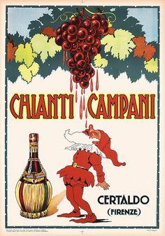 GREAT Old Original 1950s Italian Chianti Wine Poster