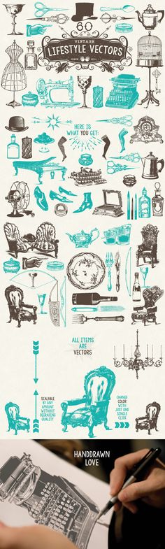 60 Vintage Lifestyle Vectors by MouseMade | The Comprehensive, Creative Vectors Bundle Mar 2015 from Design Cuts