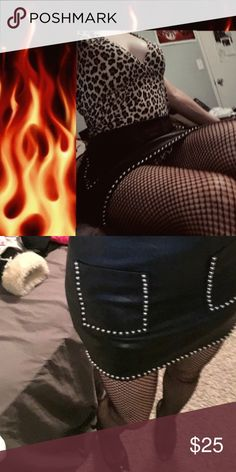 Black studded leather mini skirt!! ⚔ 🗡sexy leather mini skirt🗡goes with anything🗡studded detaling🗡 Skirts Mini