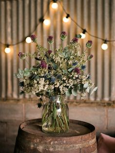Rustic Barrel Floral Arrangement | Autumn Wedding Styling Inspiration | Styling By Blue Wren Events | Images From John Barwood Photography | http://www.rockmywedding.co.uk/outdoor-autumnal-romance/