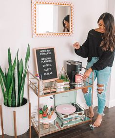 """Awesome """"gold bar cart target"""" info is available on our site. Check it out and you wont be sorry you did. Home Bar Decor, Bar Cart Decor, Diy Bar Cart, Coffee Bar Home, Home Coffee Stations, Apartment Bar, Single Girl Apartment, College Girl Apartment, Apartment Goals"""