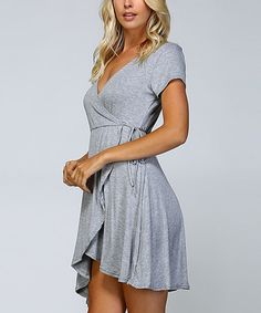 adcdcdd02ae5 Another great find on  zulily! Heather Gray Wrap Dress  zulilyfinds Heather  Gray