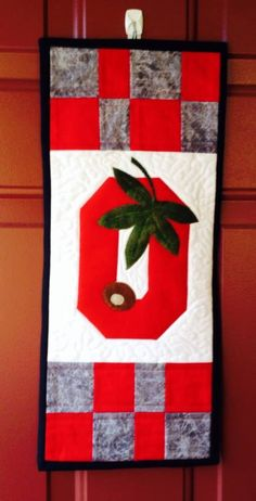 Ohio State Quilted Door Banner by QuiltgirlsCreations on Etsy, $48.00