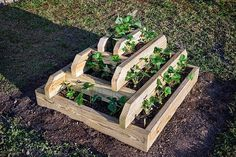 DIY Vertical Pyramid Tower Planters and Raised Garden Beds Plans and Instructions with wood structures or garden blocks - Free Plans. Strawberry Planters, Strawberry Garden, Strawberry Tower, Strawberry Patch, Diy Planters, Garden Planters, Garden Fun, Succulent Planters, Container Garden