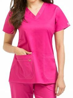 "New color!  Med Couture / MC2 Olivia Top in ""Pink-A-Licious"" from Med Couture Scrubs at Med Couture Scrub Shop"