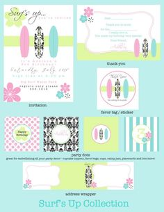 Surfer Girl Printable Party Collection