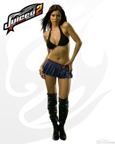 """Model Ursula Mayes was selected as the lead """"Juiced Girl"""" and """"spokesperson"""" for the racing game Juiced 2: Hot Import Nights. Yes this game is about racing cars, though you wouldn't know it from the above promotional image. #womenasliteralobjects #sexualization #misogyny #objectification #womenasdecoration"""