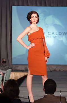 Karen Caldwell Design | Home #Runway #Fashion #OrangeDress The Emmys, St Helena, Orange Dress, Cool Designs, One Shoulder, Dressing, House Design, Party Time, Runway Fashion