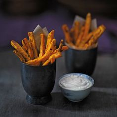 Spiced Sweet Potato Oven Fries with Garlicky Yogurt Dip | Recipe by Lisa Oz from The Oz Family Kitchen cookbook