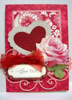 Valentine 2015 using Anna Griffin dies, paper & flower. By Sandi Beecher