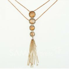 $5.78 Simple Chic Diamante Faux Opal Long Pendant Sweater Chain Necklace For Women