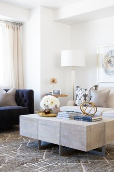 Living room design with blue chairs