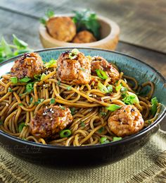 Kung Pao Chicken Spaghetti and Meatballs - The Chunky Chef