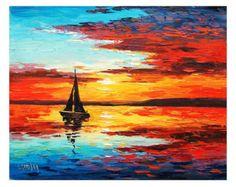 SUNSET LAKE sunrise pintura decoración paisaje arte agua por