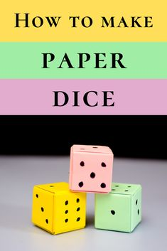 How to make paper dice. Easy way to make paper dice, paper cube or paper box without glue or tape. Great paper craft idea for all sorts of paper cube art or crafts Paper Folding Crafts, Paper Craft Making, Paper Crafts For Kids, Printable Paper Crafts, Origami Toys, Origami Paper Art, Diy Paper, How To Make Dice, How To Make Paper