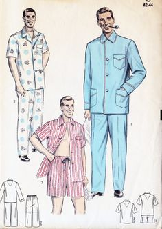"1950s Men's Coat Pajamas Vintage Sewing Pattern, Convertible Collar, Trousers or Shorts, Advance 6584 Chest size 42-44"" uncut"