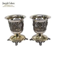 Size – Height 10.5cms; Width 9cms  Weight – 370 grammes Silver Filigree, Joseph, Spoon, Ottoman, Candle Holders, Pairs, Antiques, Ebay, Antiquities