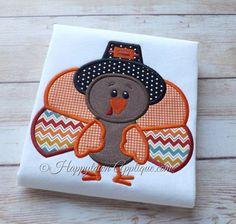 Turkey Boy Machine Embroidery Applique Design by HappytownApplique, $4.00