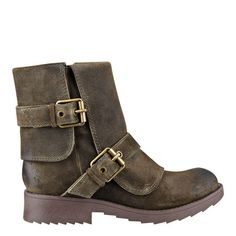 """Biker booties take the chic road in a foot-flattering round toe design. Straps with golden buckles at the ankle and across the vamp. Side zip for easy on/off. Suede upper. Soft plaid lining. Lug sole for great traction. Imported. 1 1/2"""" low heels."""