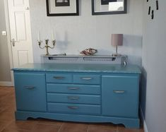RevivalsRestorations on Etsy Mint green blue painted cabinet Cupboard Drawers, Tv Cabinets, Etsy Uk, Sideboard, Double Vanity, Blue Green, Delivery, Furniture, Home Furnishings