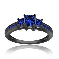 Blue Diamond Ring 925 Black Silver Ring 2.40 Ct Blue Sapphire Princess Diamond Ring  Valentine's day Gift