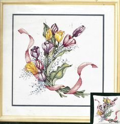 Tulips and Ribbon Elsa Williams Counted Cross Stitch Kit 02047