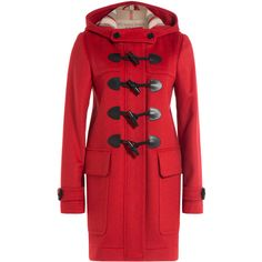 Burberry Brit Wool Duffle Coat ($890) ❤ liked on Polyvore featuring outerwear, coats, jackets, red, woolen coat, burberry coat, red duffle coat, slim fit wool coat and burberry