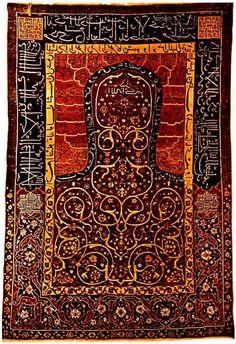 """♔ Carpets-Rugs : Azerbaijan prayer carpet """"Namazlik"""" rug XVI century"""