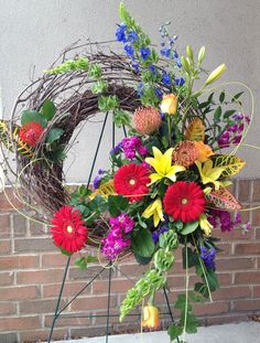 Send Bold Wreath Design in Brighton, MI from Art In Bloom, the best florist in Brighton. All flowers are hand delivered and same day delivery may be available. Grave Flowers, Cemetery Flowers, Funeral Flowers, Silk Flowers, Funeral Floral Arrangements, Flower Arrangements, Funeral Sprays, Casket Sprays, Memorial Flowers