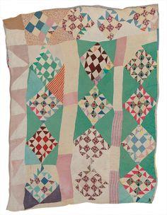 "Rachel Carey George, ""Nine Patch"", twenty-five-block variation, c. 1945, cotton and rayon, 86 x 72, Gee's Bend"