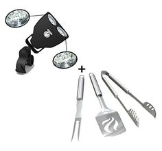 Grill Light   BBQ Tools Set - HEAVY DUTY 20% THICKER STAINLESS STEEL - Professional Grade Barbecue Accessories - 3 Piece Utensils Kit Includes Spatula Tongs & Fork - Unique Birthday Gift Idea For Dad * Find out more about the great product at the image link.