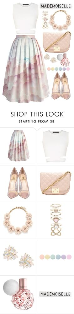 """Falling for you"" by samang ❤ liked on Polyvore featuring Chicwish, BCBGMAXAZRIA, Semilla, Forever 21, J.Crew, Accessorize, Cara, Deborah Lippmann and Rosanna"