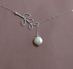 Silver Branch Lariat with Freshwater Coin Pearl -- 925 Sterling Silver Chain