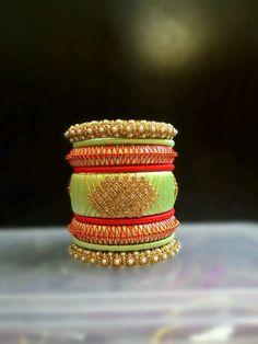 Silk Thread Bangles Design, Silk Thread Necklace, Silk Bangles, Thread Jewellery, Diy Jewellery, Handmade Jewelry, Bangles Making, Thread Art, Jewelry Patterns