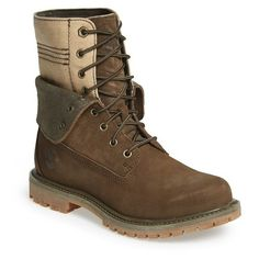 Women's Timberland 'Doublefold' Canvas Boot ($130) ❤ liked on Polyvore featuring shoes, boots, canteen nubuck with canvas, lace up fold over boots, canvas boots, foldable shoes, lace up boots and foldable boots