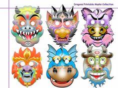 Unique Dragons Printable Masks Collectionkid by AmazingPartyShop